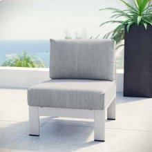 Shore Armless Outdoor Patio Aluminum Chair in Silver Gray