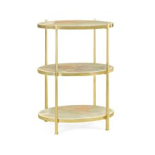 Large Solid Brass & Green Onyx Three-Tier End Table
