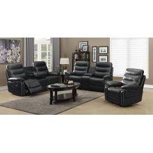 3pc Black Leather Motion Sofa Set