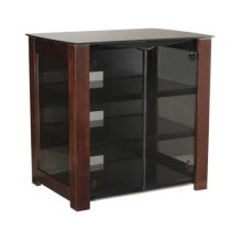 Chocolate AV Component Stand Smoked tempered-glass doors - fits AV components and TVs up to 37""