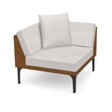 "36"" Outdoor Tan Rattan Corner Sofa Sectional, Upholstered in COM"
