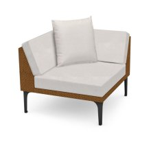 "36"" Outdoor Tan Rattan Corner Sofa Sectional, Upholstered in COM"