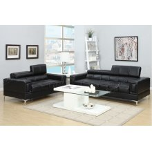 Black Modern Sofa and Love Seat with Chrome Legs