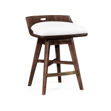 Natural Walnut Counter Stool, Upholstered in COM