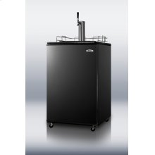 Full-sized built-in commercial beer dispenser with black exterior and complete tap accessory kit