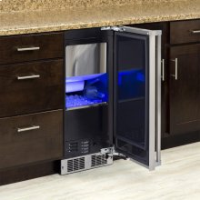 """15"""" Clear Ice Machine with Sapphire Illuminice - Gravity Drain - Stainless Steel Door with Integrated Left Hinge"""