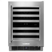 "Stainless Steel KitchenAid® 24"" Stainless Steel Wine Cellar with Metal-Front Racks"