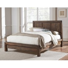 Meadow Queen Platform Bed with Brick Brown Finish