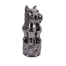Decorative Ceramic Foo Dog Figurine, Silver
