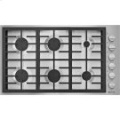 "36"", 6-Burner Gas Cooktop, Pro-Style® Stainless Knob Product Image"