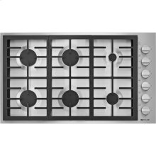 "36"", 6-Burner Gas Cooktop, Pro-Style® Stainless Knob"