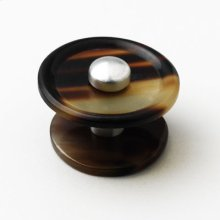 Satin Pewter & Brown Cattle Horn Cabinet Knob - 010