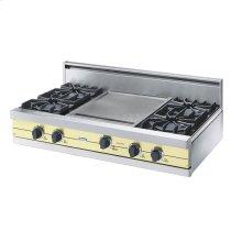"""Lemonade 42"""" Open Burner Rangetop - VGRT (42"""" wide, four burners 18"""" wide griddle/simmer plate)"""