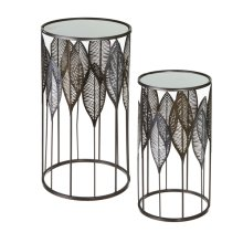 Leaf Round Side Table with Mirror Top (2 pc. set)