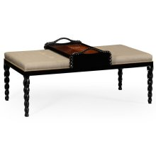 Cocktail Ottoman with Tray Table and Black Barleytwist Legs, Upholstered in MAZO
