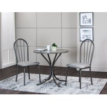 CR-D8719  3 Piece Steel Gray Dining Table Set