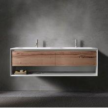 "45° UP series 1400 vanity w/shelf, White Matte frame/Vintage Oak front; 55""w x 19""h x 20""d"