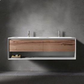 """45° UP series 1400 vanity w/shelf, Natural Oak frame/Vintage Oak front; 55""""w x 19""""h x 20""""d"""