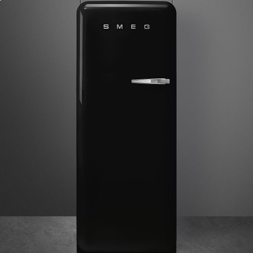 "Approx 24"" 50'S Style Refrigerator with ice compartment, Black, Left hand hinge"