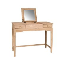 Unfinished Vanity Table w/ Flip Up Mirror
