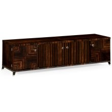 Macassar Ebony TV Cabinet with White Brass Detail