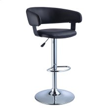 Black Faux Leather Barrel & Chrome Adjustable Height Bar Stool