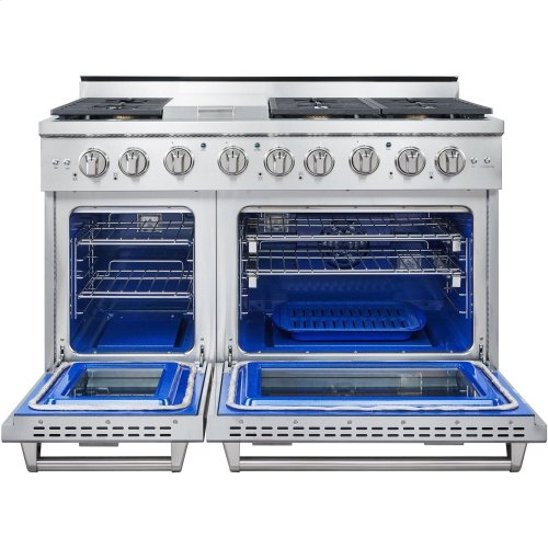 Professional Style Gas Range with 6 Burners, Griddle, and Dual Ovens