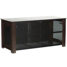 """Chocolate Widescreen Lowboy Smoked tempered-glass doors - fits AV components and TVs up to 55"""""""