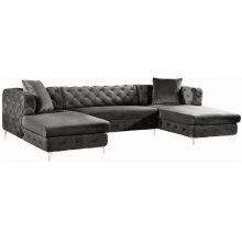 "Gail Velvet 3pc. Sectional - 127"" W x 69.5"" D x 30.5"" H"