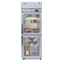 Refrigerator, Single Section Upright, Half Glass Door