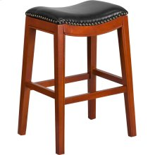 30'' High Backless Light Cherry Wood Barstool with Black Leather Saddle Seat