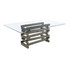Emerald Home Jenga Complete Dining Table-rectangular Glass Top-wood Base-driftwood Finish