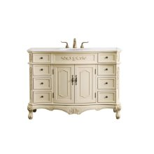 This superb balance of timeless tradition and opulent beauty in a marble-topped vanity will certainly enhance the aesthetics of any home or office bathroom! Featuring a white marble countertopoccasionally with light brown veining, complimenting the hand painted light tan finished cabinetoval white porcelain under mount sink, 2 doors and 8 drawers, as well as antique […]