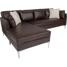 Back Bay Upholstered Accent Pillow Back Sectional with Left Side Facing Chaise in Brown Leather