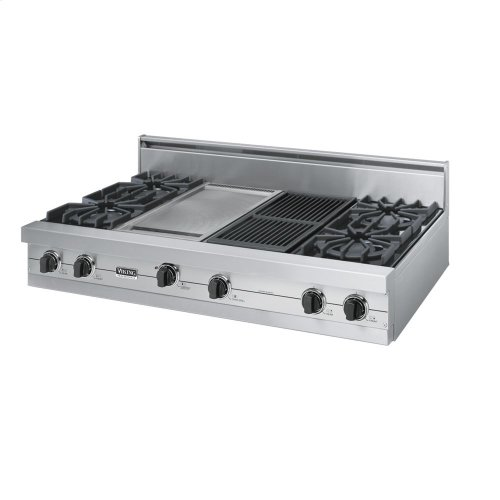 "Stainless Steel 48"" Open Burner Rangetop - VGRT (48"" wide, four burners 12"" wide griddle/simmer plate 12"" wide char-grill)"