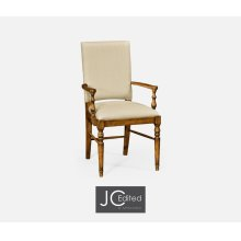 Country Walnut Armchair, Upholstered in MAZO