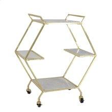 Metal & Marble Bar Cart, Gold