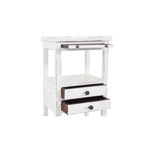 Eton 2 Drawer Side Table w/ Pull Out Shelf - WHD