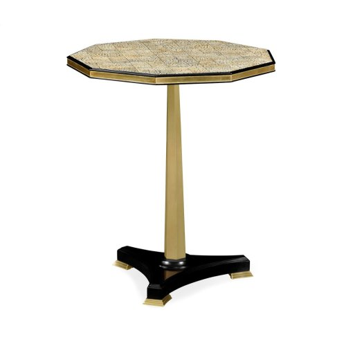 Nonagon Honey Eggshell Side Table