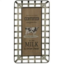 Milk & Artisan Cheese  Wooden and Galvanized Metal Farmhouse Wall Art  Built in Hanging Hardware