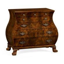 Brown mahogany bombe chest