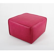 Cocktail ottoman w/ flange sewn seams on Casters
