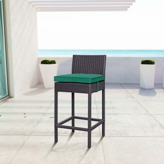 Convene Outdoor Patio Fabric Bar Stool in Espresso Green