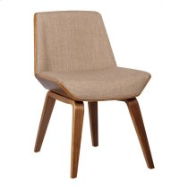 Armen Living Agi Mid-Century Dining Chair in Walnut Wood and Beige Fabric Product Image