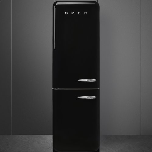"""Approx 24"""" 50'S Style refrigerator with automatic freezer, Black, Left hand hinge"""
