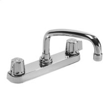 Chrome Gerber Classics Two Handle Kitchen Faucet Deck Plate Mounted W/ Metal Handles & Tubular Spout 2.2GPM
