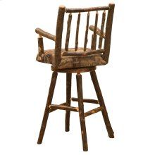 "Swivel Barstool with Arms - 30"" high - Natural Hickory - Standard Fabric"