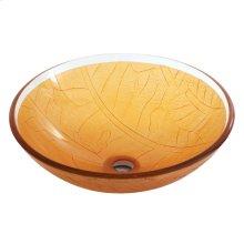 Round amber sculptured tempered glass basin