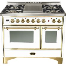"True White 40"" 6 Burner Majestic Techno Dual Fuel Range"