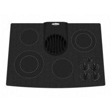 "Black-on-Black 30"" Electric Ceramic Glass Downdraft Cooktop"